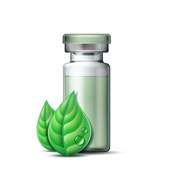 Transparente glasampulle mit impfstoff oder medikament zur medizinischen behandlung und zwei grünen blättern. pharmazeutisches symbol mit blatt für apotheke, homöopathische und alternative medizin. vektor