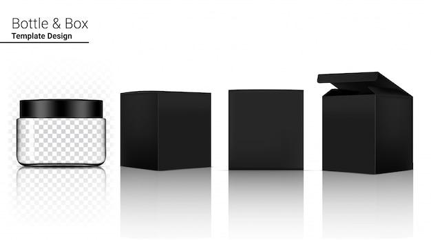 Transparente glasflasche realistische kosmetik und box für hautpflegeprodukt auf weißer hintergrundillustration. gesundheitswesen und medizinische konzeption.