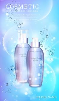 Transparente glaskosmetikflasche mit glänzendem schimmerndem hintergrundschablonenbanner.