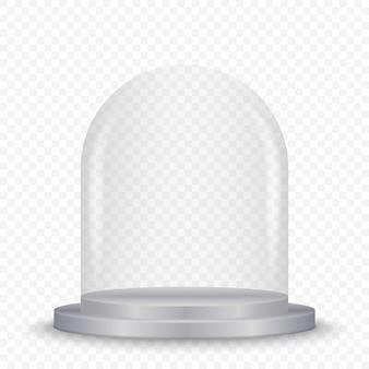 Transparente glaskuppel auf podium.