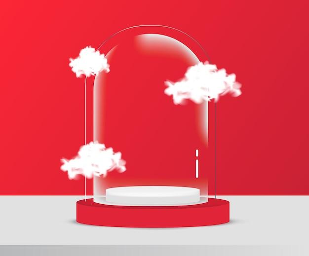 Transparente glaskuppel auf podiumszene für produktanzeige oder platzierung