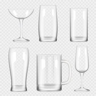 Transparente glasschale. leere champagner-cocktailbar trinkt realistische glassammlung