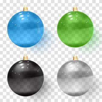 Transparente glasweihnachtskugeln. realistische weihnachtsglaskugeln.