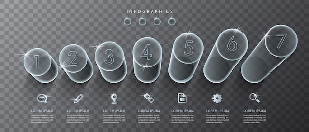 Transparente glaszylinder und symbole der benutzeroberfläche des infografikdesigns. ideal für das layout und das prozessdiagramm des banner-workflows für die präsentation von geschäftskonzepten.