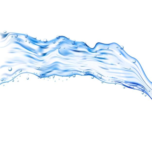 Transparente illustration des wasserspritzers. blauer aqua flüssiger hintergrund. trinken sie sauberes und frisches wasser.