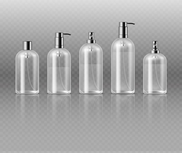 Transparente kosmetische parfümflaschen mit pumpe, kosmetische glasgefäßverpackungs-vektorschablone