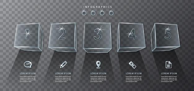 Transparente kubische glasbox und symbole des infografikdesigns
