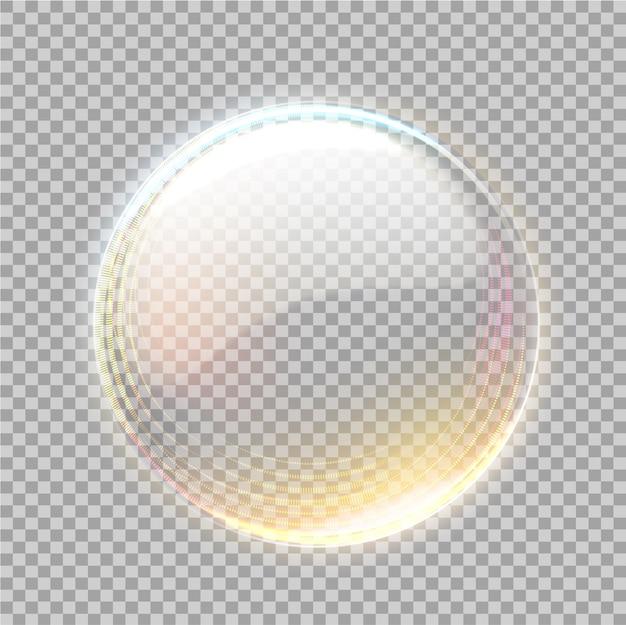 Transparente kugel mit goldenem blick