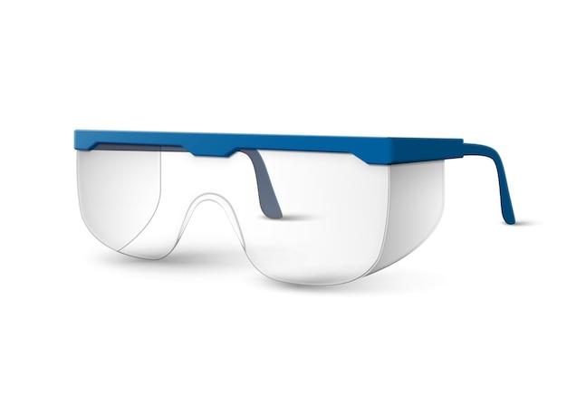 Transparente kunststoff-laborbrille mit blauen ohrhörern auf weiß isoliert