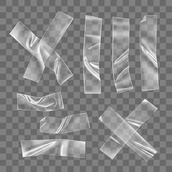 Transparente kunststoffklebebandstücke und kreuz zur befestigung isoliert. zerknittertes klebeband aus kunststoff für foto- und papierbefestigung. realistischer faltiger streifenvektor 3d