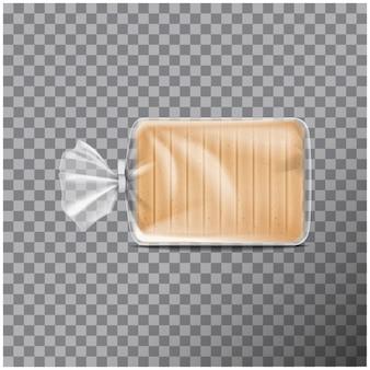 Transparente kunststoffverpackung für brot. pack für süßigkeiten, kekse. illustration