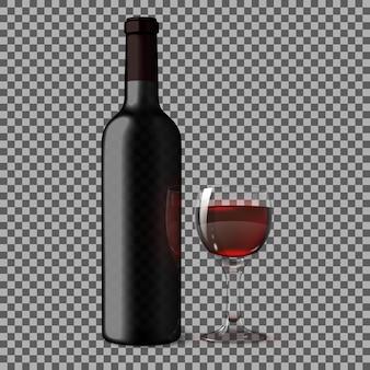 Transparente leere schwarze realistische flasche für rotwein lokalisiert auf kariertem hintergrund mit glas rotwein. vektor