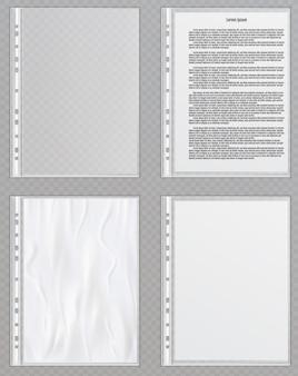 Transparente plastikfeilen. zellophan-ordner zum schutz von dokumenten