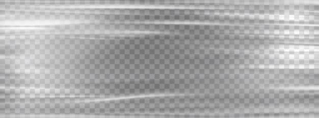 Transparente plastikfolie. zellophanweißes stretch-plastikfolienmodell.