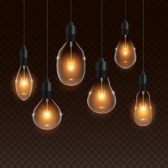 Transparente realistische goldene glühlampe
