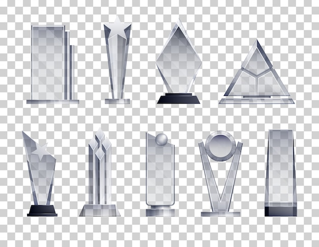 Transparente realistische menge der trophäen mit isolierten gewinnersymbolen