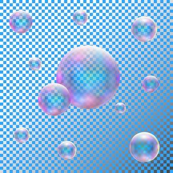 Transparente realistische seifenblasen
