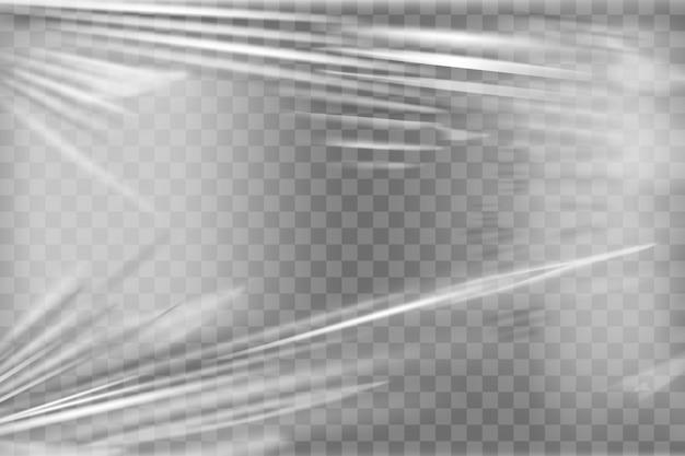 Transparente stretch-plastikfolie. realistischer stretchfolienhintergrund aus polyethylen. transparente zellophanverpackung
