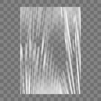 Transparente stretch-plastikfolie textur. realistischer stretchfolienhintergrund aus polyethylen. transparente zellophanverpackung