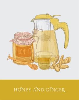 Transparente teekanne oder krug mit sieb