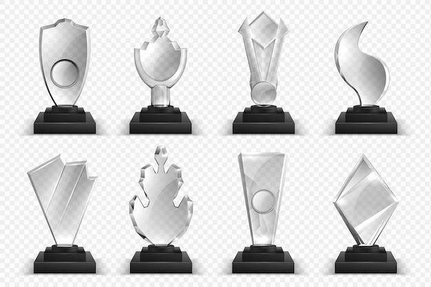 Transparente trophäen. realistische glaskristallpreise, gewinnerpreise, sterne und pokale, sammlung von 3d-meisterschaftspreisen.