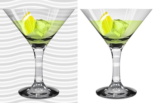 Transparente und blickdichte realistische vollmartinigläser mit martini, zitrone und eiswürfel