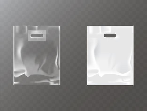 Transparente und weiße plastik- oder folientasche mit aufhängeloch