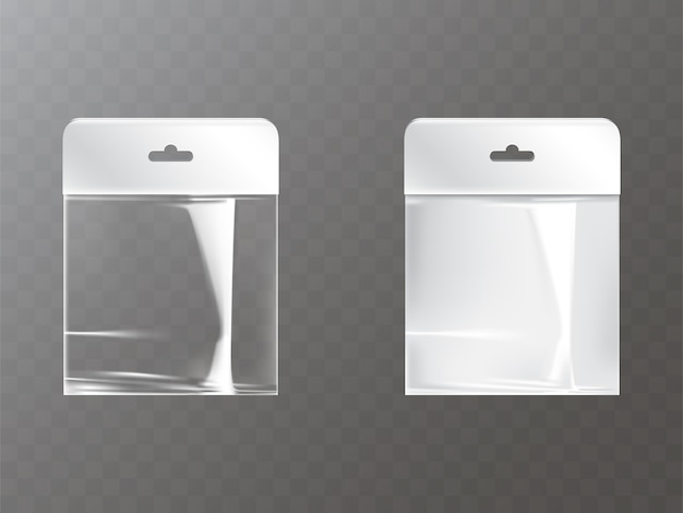 Transparente und weiße wiederverschließbare plastik- oder folientasche mit reißverschluss