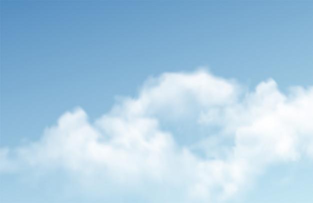 Transparente verschiedene wolken auf blauem hintergrund. echter transparenz-effekt.