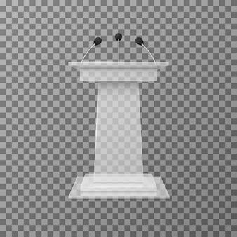 Transparente vortragsredner-podiumstribüne lokalisierte vektorillustration