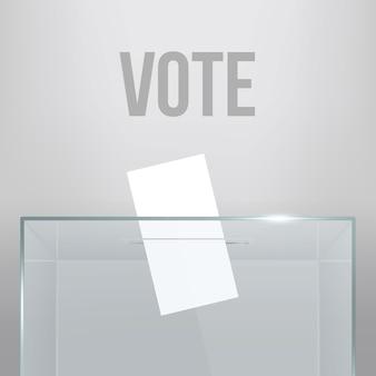 Transparente wahlurne mit stimmzettel im loch.