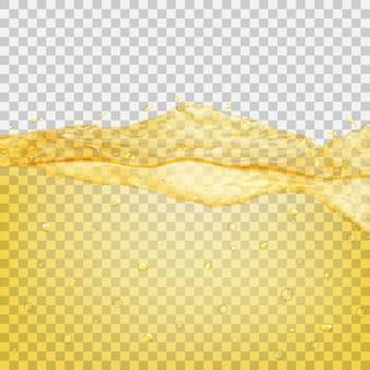 Transparente wasserwelle mit tropfen und blasen in gelben farben, isoliert auf transparentem hintergrund. transparenz nur in vektordatei
