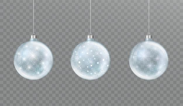 Transparente weihnachtsglaskugel mit schnee und glut satz winterdekorationen