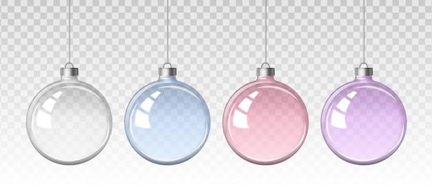 Transparente weihnachtskugeln.