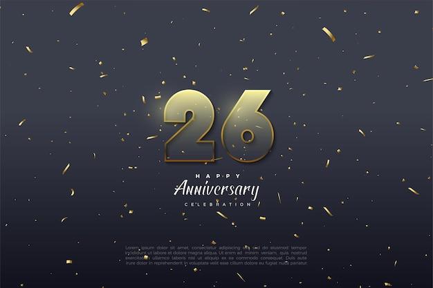 Transparente zahlen mit goldenem rand zum 26. jahrestag