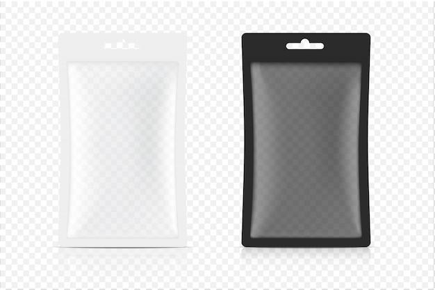 Transparenter 3d-beutelbeutel lokalisiert auf weißem hintergrund. illustration. konzeption von verpackungen für lebensmittel, getränke, gesundheitswesen und medizinische waren.