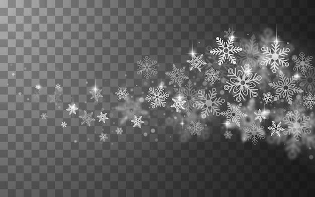 Transparenter abstrakter hintergrund des schneebedeckten winters mit fliegenden schneeflocken.