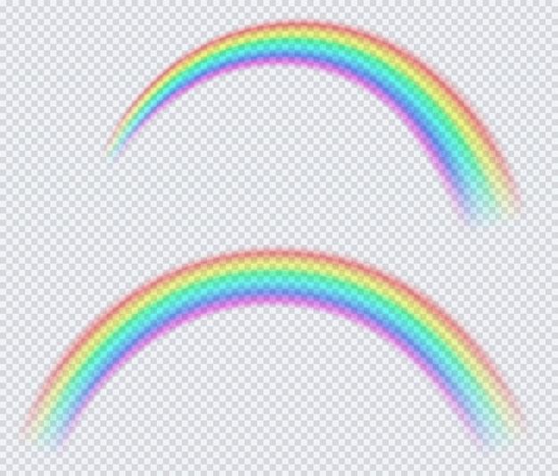Transparenter farbiger regenbogen, kreisbogen.