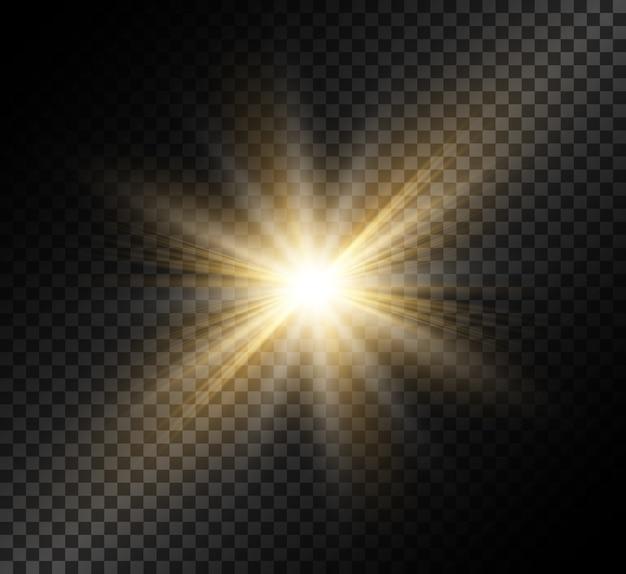 Transparenter glimmlichteffekt mit hellen strahlen.