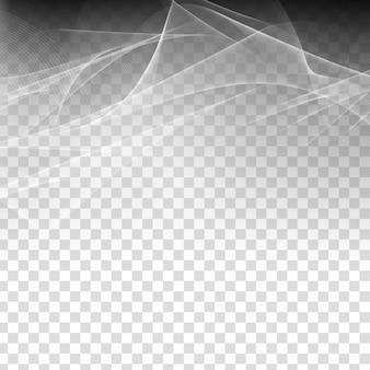 Transparenter hintergrund der abstrakten stilvollen grauen welle