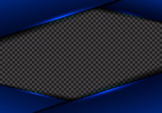 Transparenter hintergrund des abstrakten blauen rahmens metallischer heller