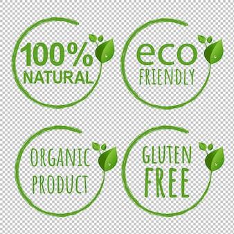 Transparenter hintergrund des öko-logo-symbols mit verlaufsgitter, illustration