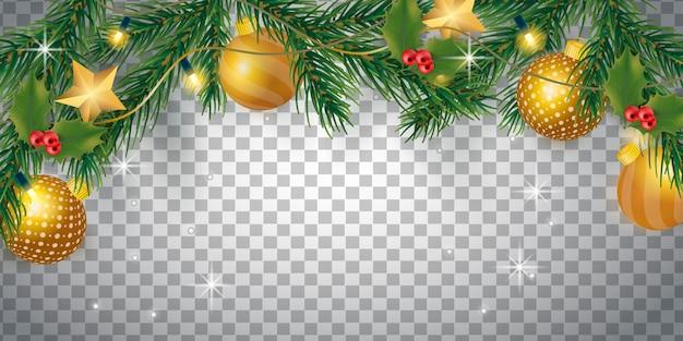 Transparenter hintergrund mit weihnachtsdekoration