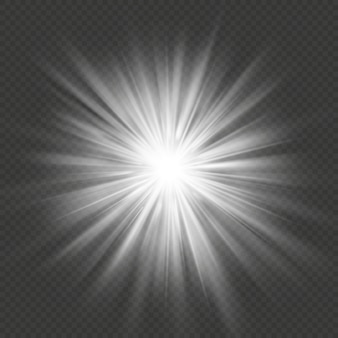 Transparenter lichteffekt der explosion des weißen glühsterns.
