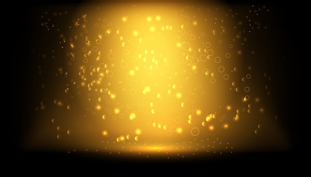 Transparenter lichteffekt. goldfunkeln-puderspritzenhintergrund. goldener staub. magischer nebel glüht.