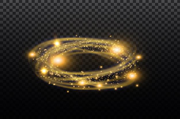 Transparenter lichteffekt mit kreisförmigem linseneffekt. abstrakte kreuzellipse. rotationsglühlinie. energie energie. hintergrund der leuchtenden ringspur. runder glänzender rahmen. kreis