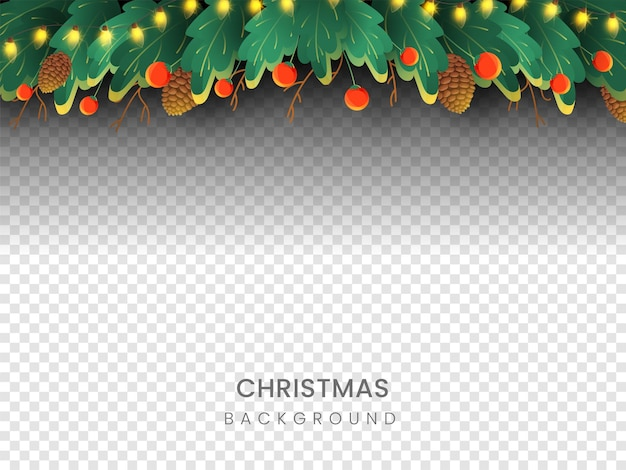 Transparenter oder png-hintergrund verziert mit beleuchtungsgirlande, grünen blättern, roten beeren und tannenzapfen-illustration. weihnachtsfeier-konzept.