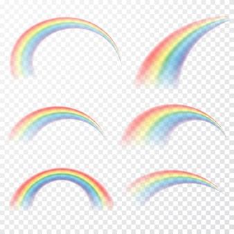 Transparenter regenbogen. realistischer raibow auf transparentem hintergrund.