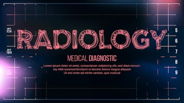 Transparenter röntgenstrahl-text mit knochenfahne