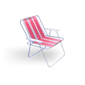 Transparenter roter klappstuhl für die erholung am strand und zum angeln. illustration